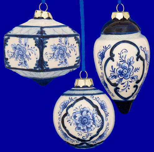 Delft Blue and White Ornaments:
