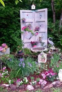 Garden, shabby chic, stencil, watering can, bird bath ...