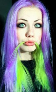 light purple and neon green hair