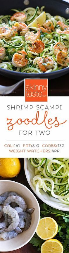 Shrimp Scampi Zoodles for Two Recipe via Skinny Taste – a quick and easy spiralized meal!
