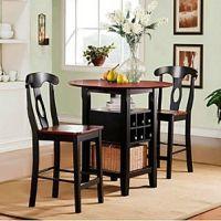 3 Piece Bistro Kitchen Set Table Bar Wine Rack Chairs ...