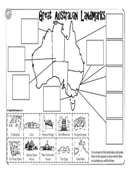 Cut and paste, Australia and Worksheets on Pinterest