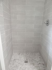 everything from lowe's: shower walls: 6x24 leonia silver ...