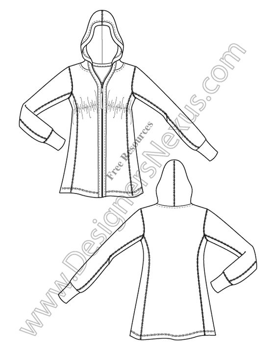 V3 Knit Hoodie Illustrator Fashion Technical Drawing