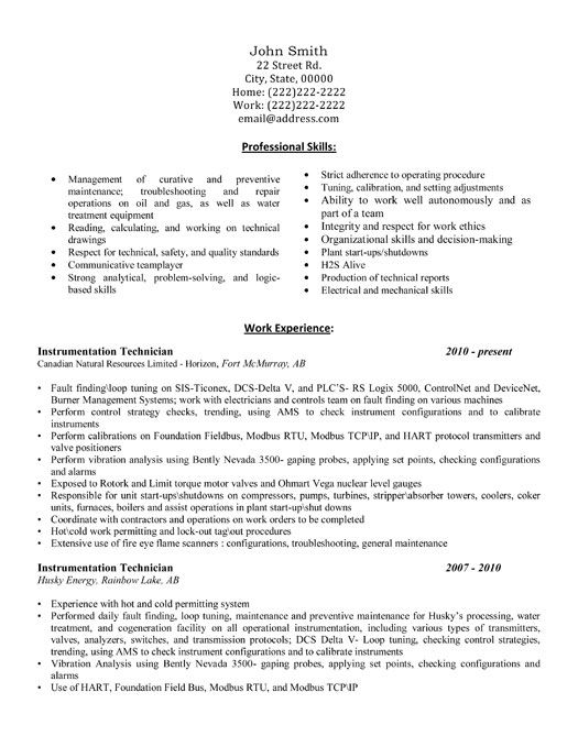 Sample Resume For Fresher Instrumentation Engineer | Resume ...