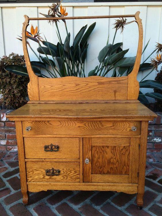 Antique or Vintage Oak Washstand Dry Sink Dresser Serpentine Drawer Towel Rack  bathroom