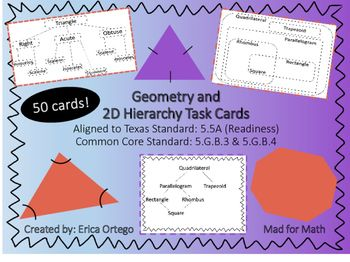 Geo Classify 2d Figures In Hierarchy Sets Task Cards 5 5a