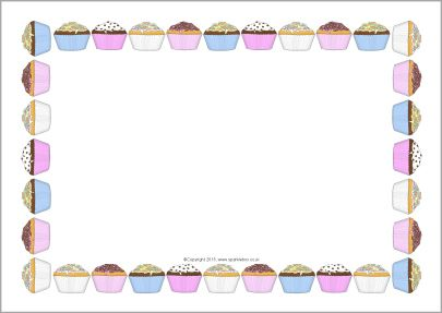 cupcakes a4 page borders sb9846