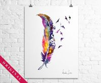 Original Watercolor Painting - Colorful Birds Feather ...