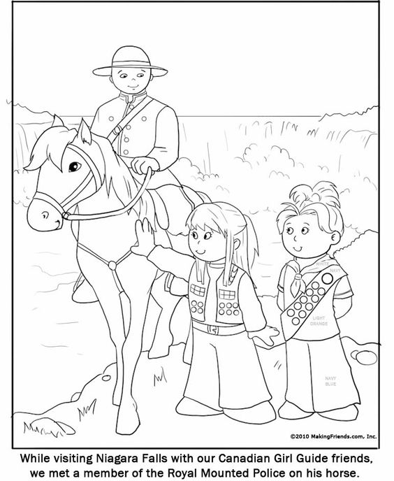 Canadian Guide Coloring Page. Print these out and leave