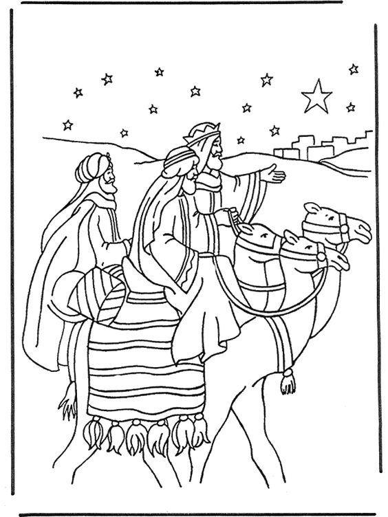 The Three Magi on camels looking at The Star of Bethlehem