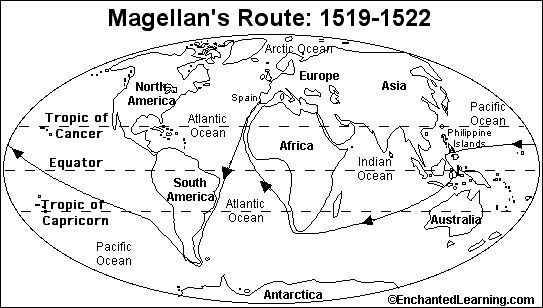 Magellan circumnavigated the globe, claiming the