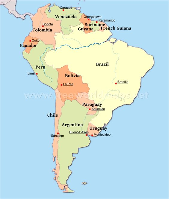 Map of South America with Capitals This amp That