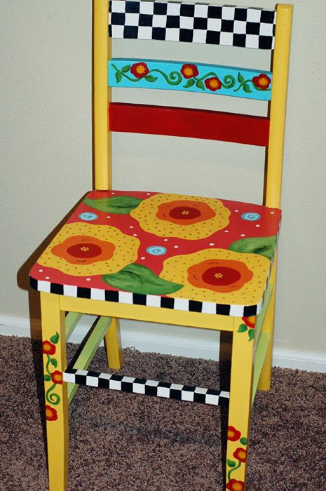Fun Painted chair Upcycled recycled furniture  Ideas