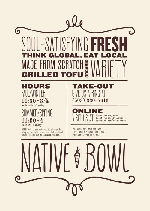 Bowls, Typography and Menu design on Pinterest