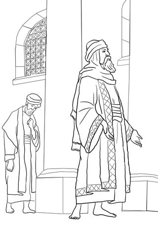Pharisee and the Publican coloring page from Jesus