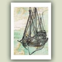Sailboat art Print, old war vessel, reproduction old map ...