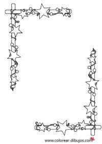 dibujo de bordes de navidad con estrellas para colorear e