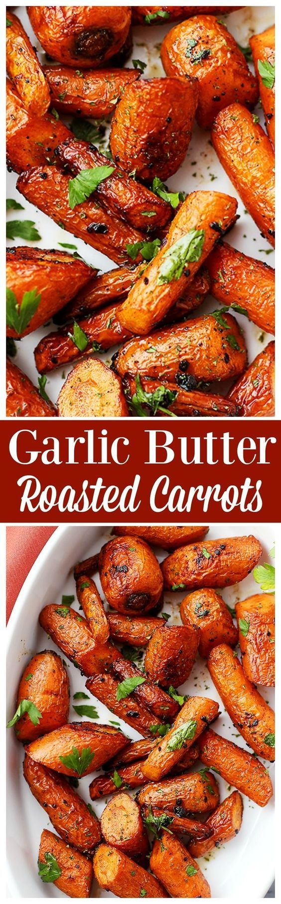 Garlic Butter Roasted Carrots Vegetable Side Dish Recipe via Diethood - Ridiculously easy, yet tender and SO incredibly delicious roasted carrots with garlic butter.