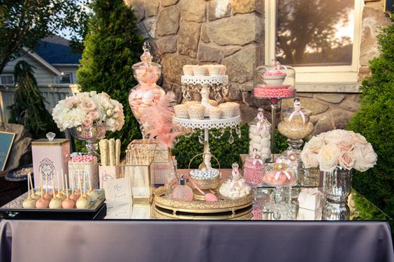 Champagne And Coral Wedding dessert table  Wedding