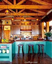 Beautiful Turquoise Kitchen blue home wood kitchen rustic ...