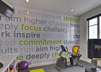Contemporary Home Gym with Wallpaper Decorating Decorative