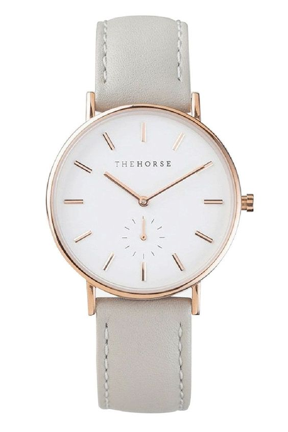 rose gold/grey leather watch