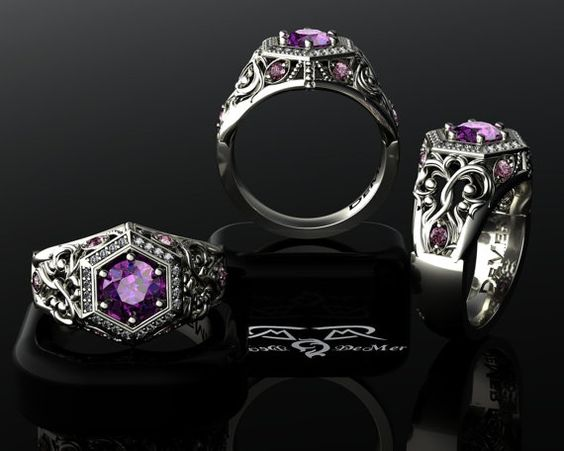 Unique Engagement Ring Radiant Orchid pink purple sapphire ideal diamond ring 14kt black gold rose gold or platinum Edgar Allen Poe  Pantone