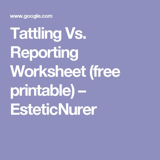 Tattling Vs Reporting Worksheet Free Printable