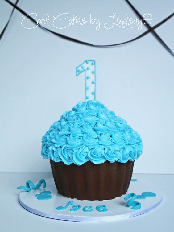 Giant Cupcake Blue And Brown Cake Pinterest