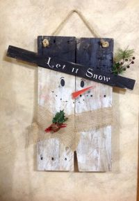 Snowman, Pallet wood and Snowman door on Pinterest