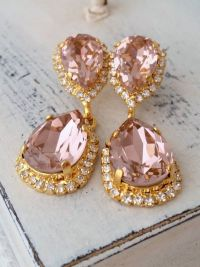 Blush chandelier earrings,Blush pink bridal earrings,Blush ...