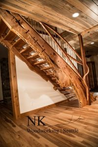 Curved staircase, Wood slab and Stair case on Pinterest