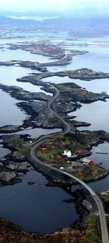 The Atlantic Ocean Road runs through an archipelago in Eide and Averøy in Møre og Romsdal, Norway: