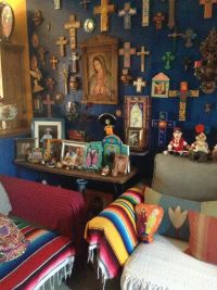 Holy Amazing Alter cross blue wall in living room
