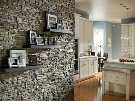 wohnzimmer steinwand dekoration deko steinwand   ifmore