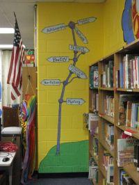 Library Mural Detail: Book Genre Sign Post | Dr. seuss ...