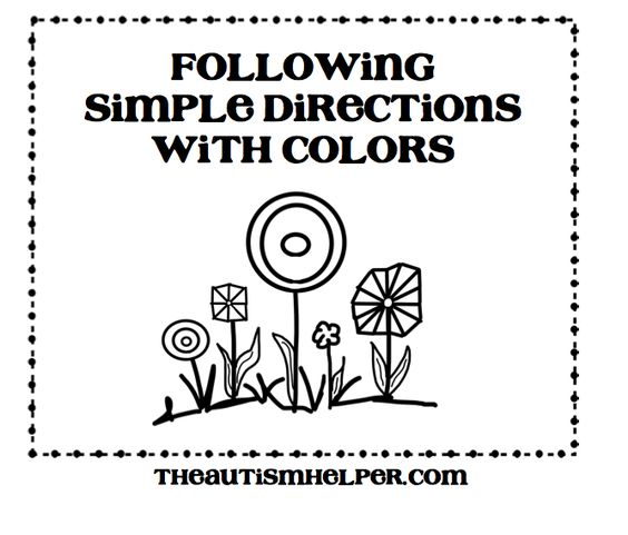 Following Simple Directions with Colors {5 worksheets with