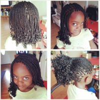 Small curly box braids.