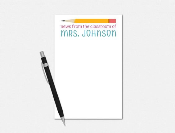 News from the Classroom - Personalized Teacher Notepad