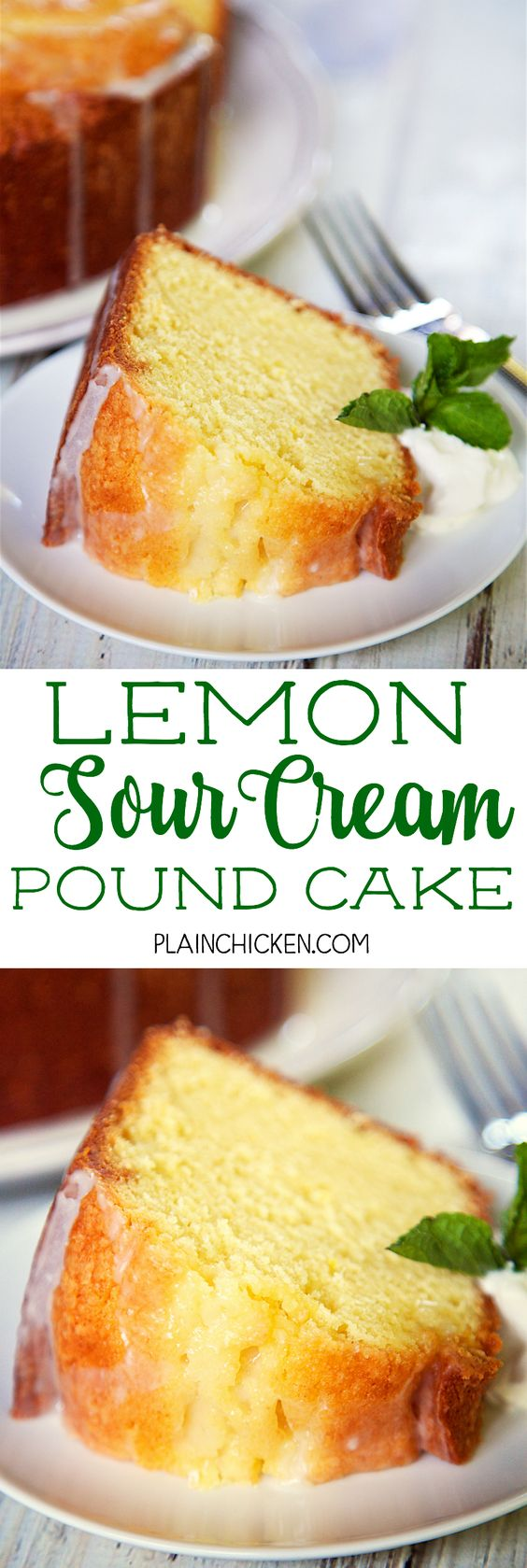 Lemon Sour Cream Pound Cake Recipe via Plain Chicken - the most AMAZING pound cake I've ever eaten! So easy and delicious! Top the cake with a lemon glaze for more yummy lemon flavor. Serve the cake with whipped cream, mint and fresh berries. I took this to a party and everyone asked for the recipe! The BEST Easy Lemon Desserts and Treats Recipes - Perfect For Easter, Mother's Day Brunch, Bridal or Baby Showers and Pretty Spring and Summer Holiday Party Refreshments!