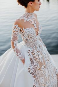 Wedding gown of Italian silk embroidered lace by J'Aton ...