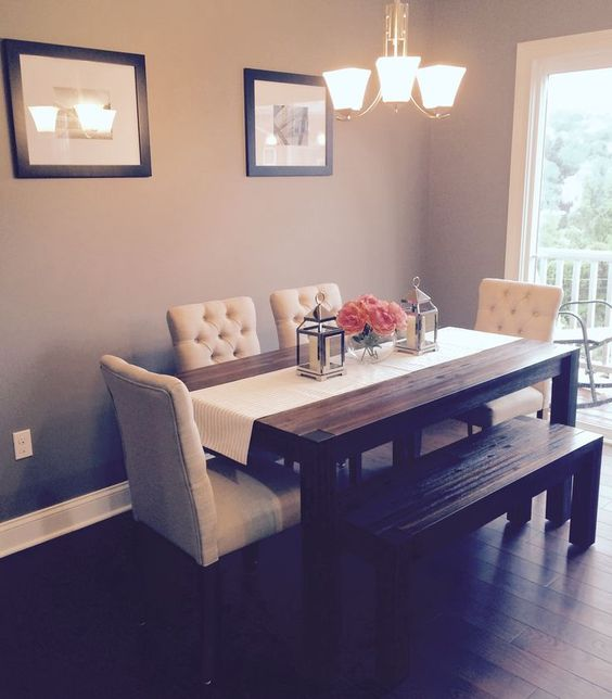 Dining room: Avondale (Macy's) table & bench with fabric chairs from Target. Kate Spade runner/Pottery Barn lanterns: