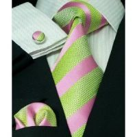 Pink and Green striped tie, cuff links or button covers ...