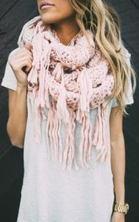 Blush Knit Scarf - Long | My Style | Pinterest | Chunky ...