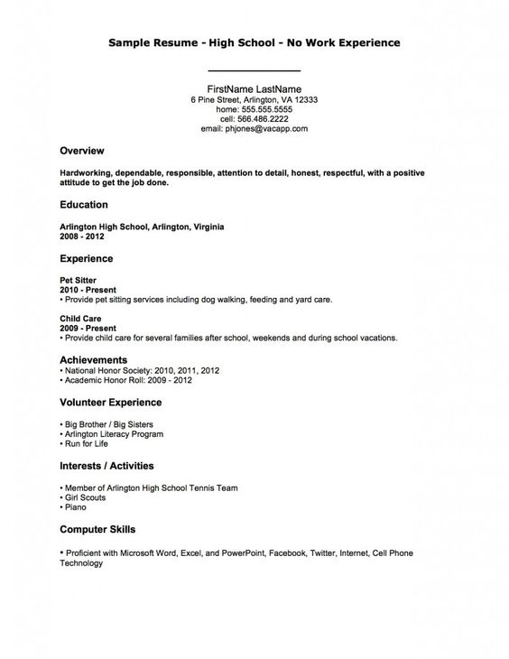 First Job Resume Examples Resume Template For First Job First Job