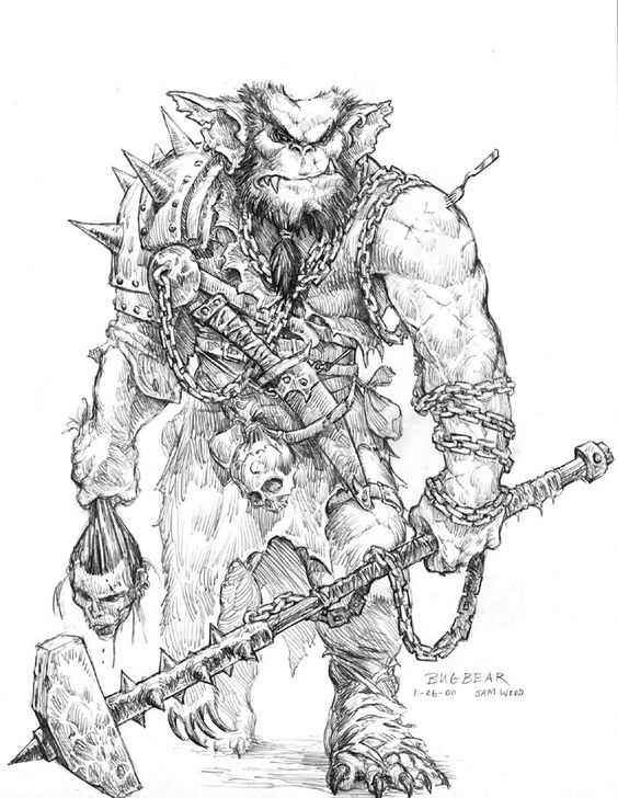 Bugbear. Goblinoid. Monster Manual. Coloring Pages. DnD. D