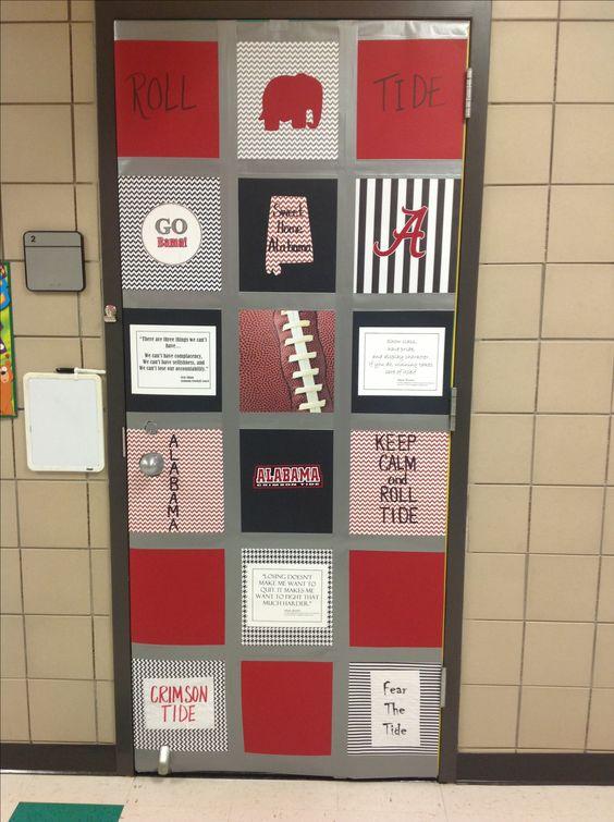Roll tide! College week at school door decoration. No