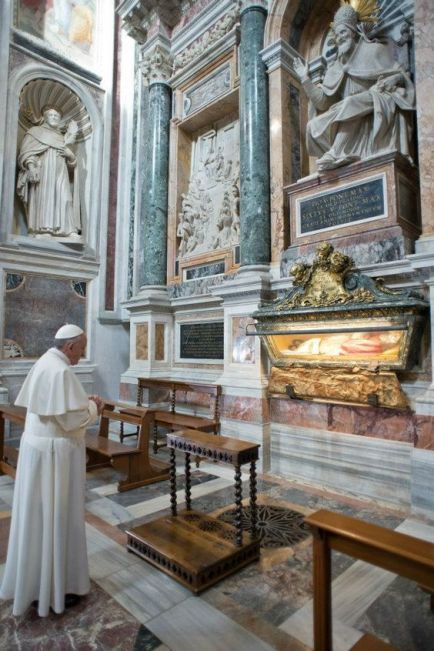 On the morning of his first day as the Vicar of Christ, Pope Francis prayed at the tomb of Pope St. Pius V.: