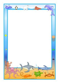 Ocean A4 page borders Animals Sea life Pinterest